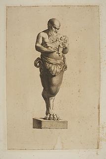 Skulptur med Silen med Dionysos-barnet