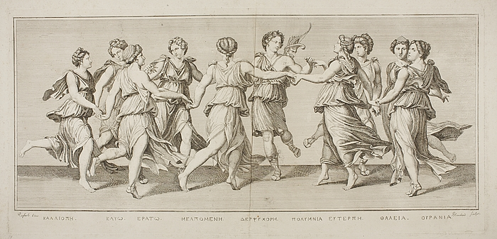 Apollon danser runddans med de ni muser