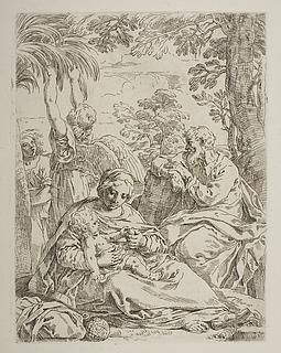 Hvile på flugten til Egypte med engle der plukker dadler til Jesusbarnet