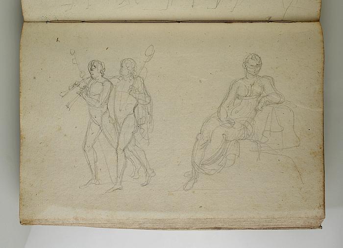 Bacchant og mand med dobbeltfløjte. Siddende kvinde