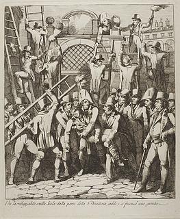 Un sacrilego salito sulla scala ( En gudsbespotter har brækket benet da han forcerede Vatikanets mure 6. juli 1809 )