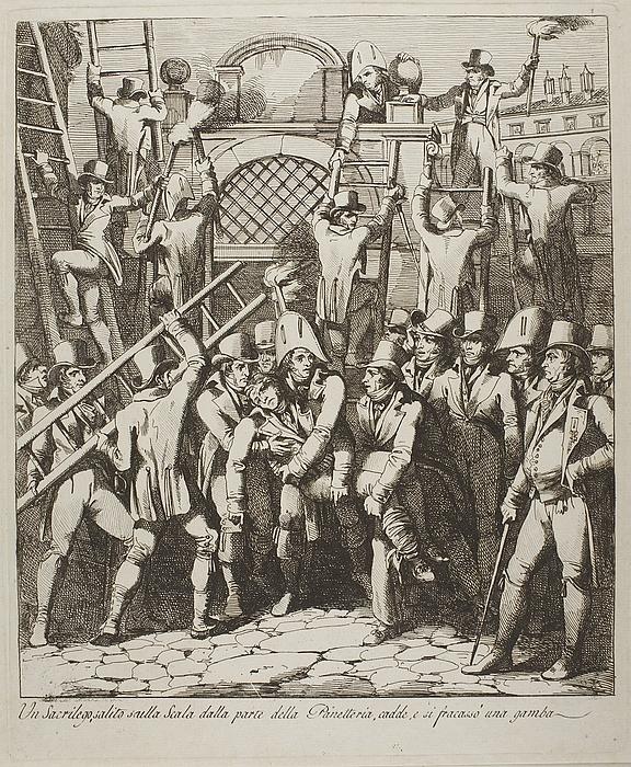 Un sacrilego salito sulla scala ( En gudsbespotter har br?kket benet da han forcerede Vatikanets mure 6. juli 1809 )