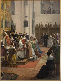 J.L. Lund: Luthersk Gudstjeneste, 1843, olie på lærred, 370 x 272 cm. Statsrådssalen. Christiansborg Slot. Foto Ole Haupt