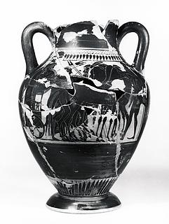 Amfora med Dionysos og silener (A) og krigere, der tager afsked (B). Græsk