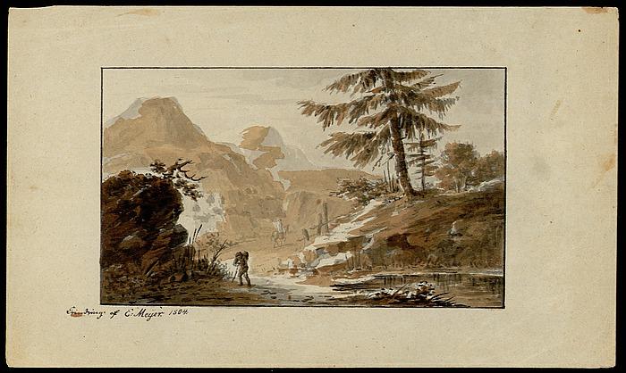 Alpelandskab med vandrere