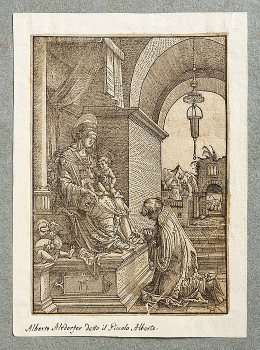 Gejstlig knæler for Maria med barnet