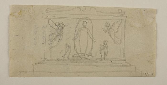 Gravmonument med Kristus stående i en Nimbus