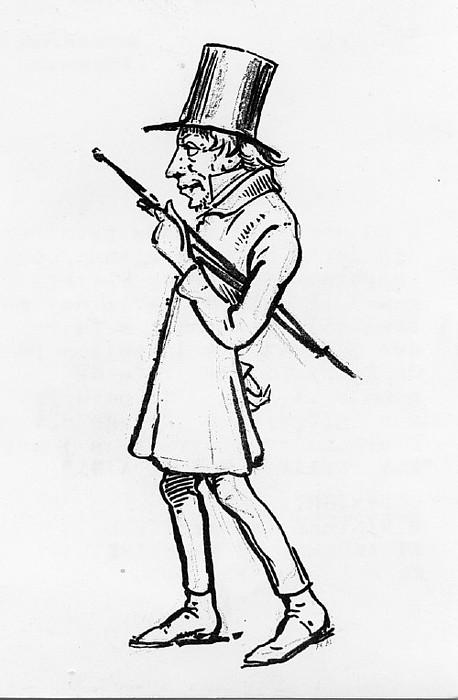 Wilhelm Marstrand. Karikatur af Søren Kierkegaard.