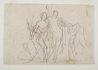 Bacchus der støtter sig til en satyr og giver Amor at drikke