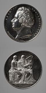 Medalje forside: Adam Oehlenschläger. Medalje bagside: Brage og Ydun