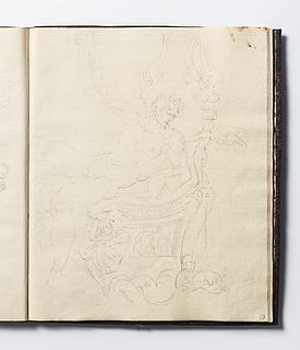 Mandlig figur siddende på en trone