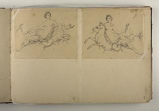 Kvindefigur siddende på et fabeldyr