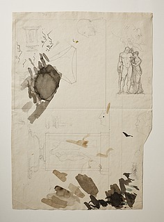 Døbefont. Herkules og Hebe. Profilportrætter af Georg Zoëga og flere andre