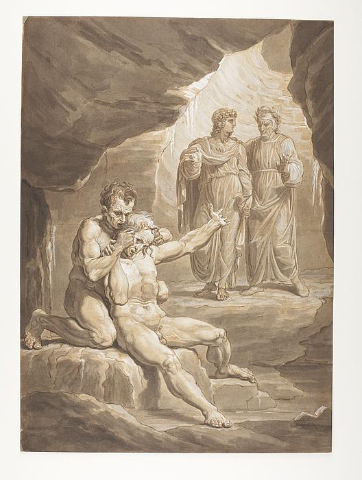 Dante og Virgil passerer Ugolino della Gherardesca og ærkebiskop Ruggieri i underverdenen