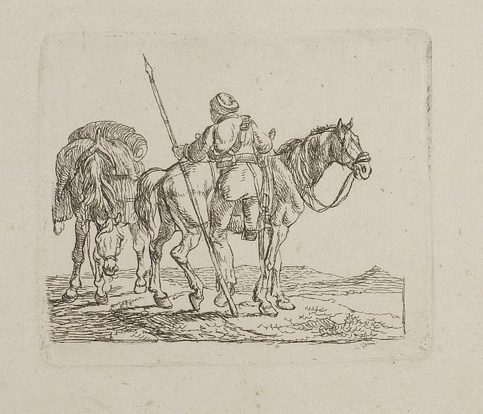 Kosak som stiger til hest