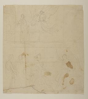 Mariæ bebudelse. Kvinderne (de tre Marier) ved graven