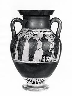 Amfora med Paris' dom (A) og krigere, der tager afsked (B). Græsk