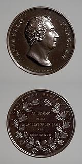 Medalje forside: Raphael Morghen. Medalje bagside: Laurbærgrene og inskription