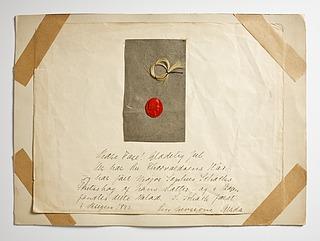 Lok af Thorvaldsens hår og rødt laksegl med portræt af Thorvaldsen