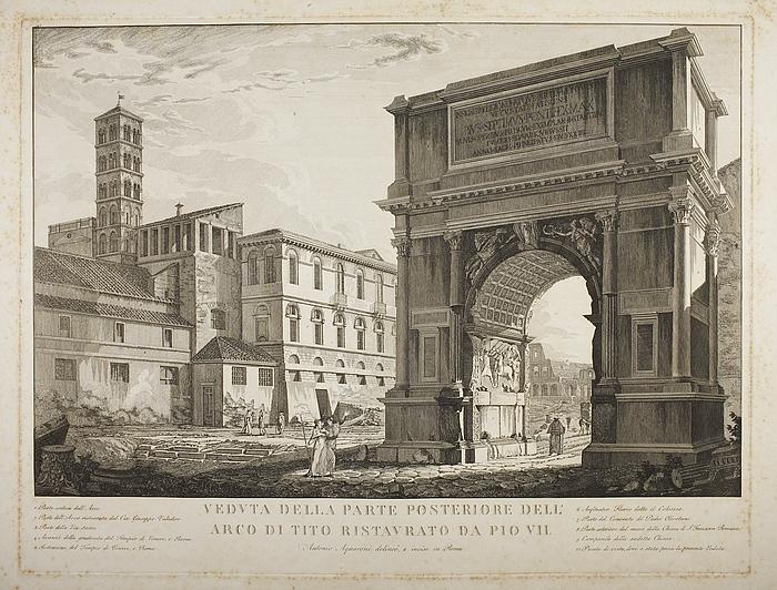 Veduta della parte posteriore dell'archo di Tito ristavrato da Pio VII ( Prospekt af Titusbuen restaureret af Pius 7. )