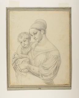 Mor med barn på armen