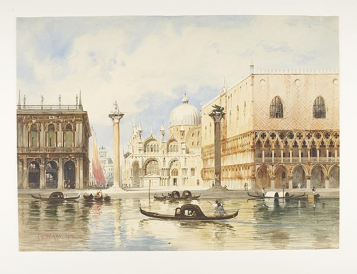 Piazetta San Marco i Venedig med Dogepaladset og Markuskirken