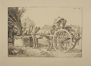 Hest forspændt en romersk karre og drikker af et springvand