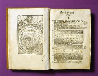 Thorvaldsens ældste Bibel. Biblia: das ist: Die ganze Heilige Schrifft: Deudsch Auffs New zugericht. D. Mart. Luth. Wittenberg 1541, Copyright tilhører Thorvaldsens Museum