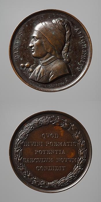 Medalje forside: Digteren Dante Aligiheri. Medalje bagside: Laurbærkrans og inskription