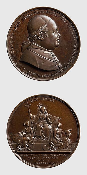 Medalje forside: Kardinal Zurla. Medalje bagside: Religionen troner ovenover geografien og kunsten