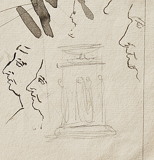 Sketch of the Baptismal Font, and profile portraits, detail