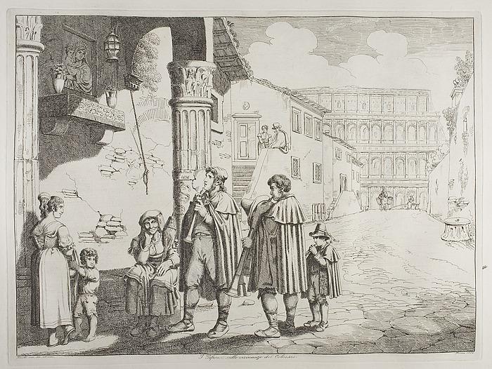 I piforari sulle vicinanze del Colosseo ( Fløjtespillerne ved Colosseum )