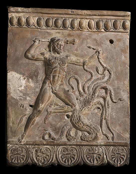 Campanarelief med Herkules i kamp med den lernæiske Hydra. Romersk