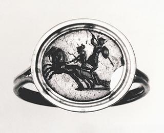 Achilleus slæber Hektors lig efter sin vogn. Hellenistisk-romersk ringsten