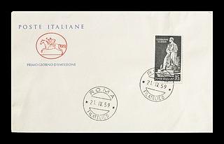 Førstedagskuvert med italiensk frimærke med Thorvaldsens statue af George Gordon Byron