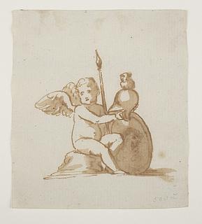 Putto med Minervas hjelm og skjold