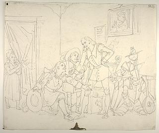 Don Quixote og Sancho Panza modtager en gæst