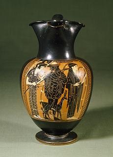 Oinochoe med Athene, Hermes og Kore (?). Græsk