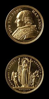 Medalje forside: Pius 8. Medalje bagside: Religionen