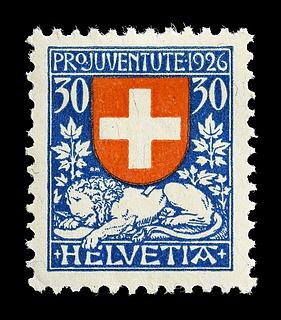 Schweizisk frimærke med Thorvaldsens Døende løve (Schweizerløven)