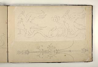 Fugle ridende på ryggen af delfiner. Vægdekoration i pompejansk stil med to dansende figurer
