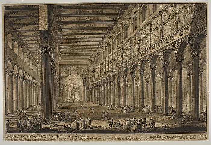 Spaccato interno della Basilica di S. Paolo fuori delle Mura ( Tv?rsnit af Basilica di S. Paolo fuori delle Mura )