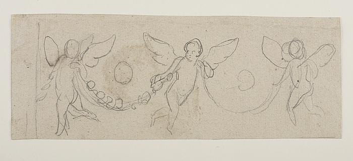 Tre svævende engle med blomsterranker som guirlander
