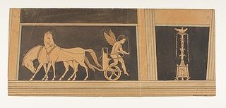 Amorin stiger af hestevæddeløbsvogn. Kandelaber