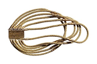 Tilskrevet Falk Wilhelm Henriques, Armbånd af Thorvaldsens hår, 1843, 21,5 cm, hår og guld
