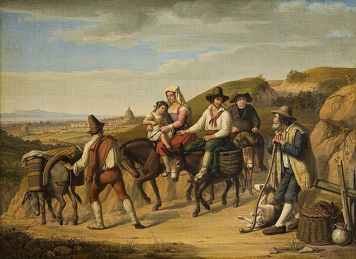 Bønder på vej til Rom går ned fra Monte Mario