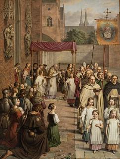 J.L. Lund, Procession ved Kristi Legemsfest fra den katolske tid i Danmark, 1834, olie på lærred, 370 x 272 cm, Statsrådssalen, Christiansborg Slot. Foto Ole Haupt