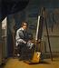 Maleren J.V. Gertner ved sit staffeli
