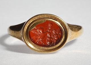 Eros, der giver en ørn vand fra en vase. Hellenistisk-romersk ringsten