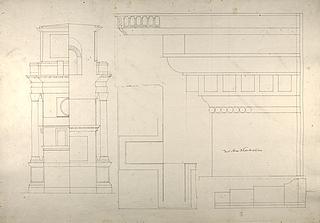Konstantin-buen, opstalt og tværsnit af kortside og profil af entablatur